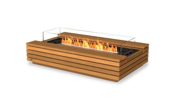 Cosmo 50 Tables extérieure - Ethanol - Black / Teak / Optional Fire Screen by EcoSmart Fire
