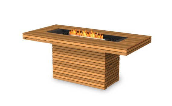 Gin 90 (Bar) Tables extérieure - Ethanol - Black / Teak by EcoSmart Fire