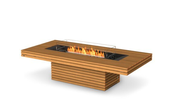 Gin 90 (Chat) Tables extérieure - Ethanol - Black / Teak / Optional Fire Screen by EcoSmart Fire