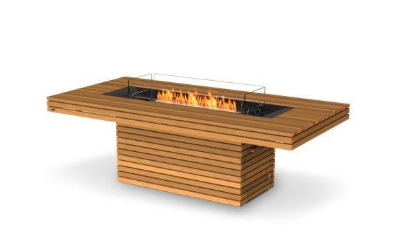 Gin 90 (Dining) Tables extérieure - Ethanol - Black / Teak / Optional Fire Screen by EcoSmart Fire