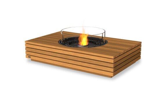 Martini 50 Tables extérieure - Ethanol - Black / Teak / Optional Fire Screen by EcoSmart Fire