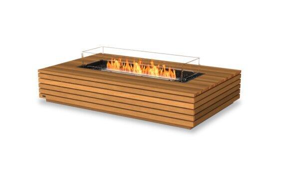 Wharf 65 Tables extérieure - Ethanol - Black / Teak / Optional Fire Screen by EcoSmart Fire