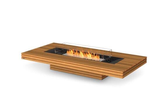 Gin 90 (Low) Tables extérieure - Ethanol / Teak / Optional Fire Screen by EcoSmart Fire