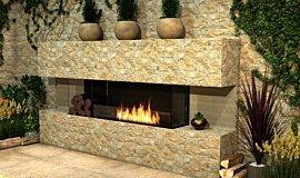 Outdoor Setting Linear Fires Baie (trois faces) Idea