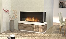 Dining Room Linear Fires Angle droit Idea