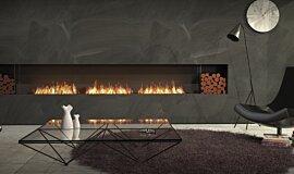 Living Room Linear Fires Simple face Idea