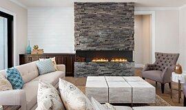 Lounge Room Linear Fires Baie (trois faces) Idea