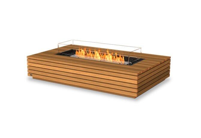 Wharf 65 Tables extérieure - Ethanol / Teak / Optional Fire Screen by EcoSmart Fire
