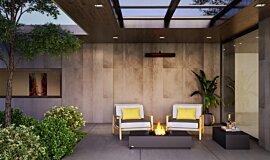 Courtyard Residential Fireplaces Tables extérieure Idea