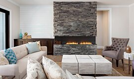 Lounge Room Linear Fires Built-In Fire Idea