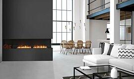 Living Area Linear Fires Built-In Fire Idea
