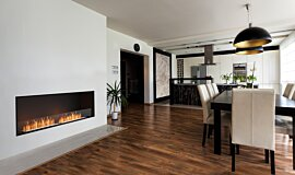 Dining Area Linear Fires Built-In Fire Idea