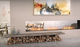 Lounge Area See-Through Fireplaces Built-In Fire Idea
