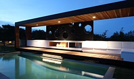 Portsea Private Pool Pavilion Residential Fireplaces Built-In Fire Idea