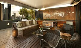 Private Balcony Residential Fireplaces Built-In Fire Idea